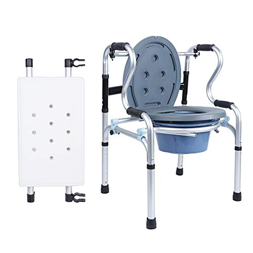 BEAMNOVA All in One Adjustable Folding Commode Chair for Toilet with Splash Guard Shower Chair with Arms and Back for Elderly Toilet Rail Walking Aid Toilet Booster Seat