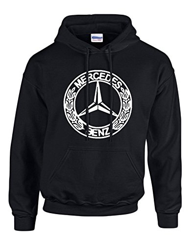 MERCEDES-BENZ White Logo on Black Hooded Sweater / Sweatshirt (Hoodie) - SIZE - Priority Mail Shipping Usps Times