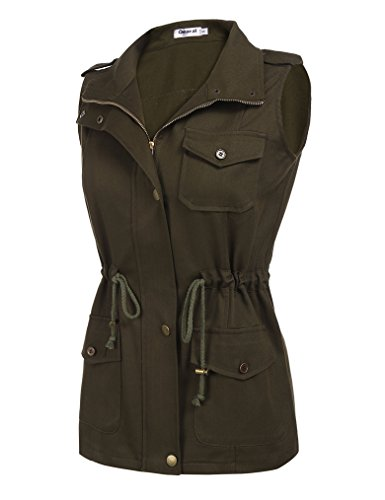Women's Plus Size Zip Up Drawstring Anorak Jacket Military Vest w/ Pockets (XXL, Army Green)