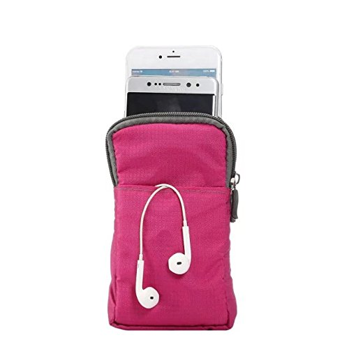 PT Universal Multipurpose Carry Case Pouch Nylon Sporty Smartphone Holster Belt Clip Waist Bag For Iphone 7 Plus Samsung Galaxy S7 Edge Note 5 Iphone 6S (Pink)