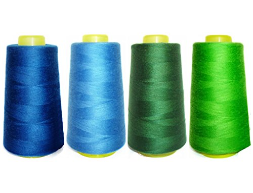 Blue Polyester Parka Set (Selric [12000 Yards] 100% Spun Polyester Sewing Thread All Purpose Thread 4 Different Colors [Size 402 Royal Blue +Blue+Moss Green+ Fresh)