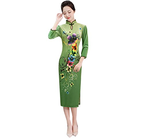 4 Verde Lungo Cheongsam Velluto Vestito 3 Maniche YueLian a wpRqRI