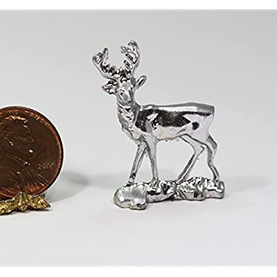 Dollhouse Miniature Christmas Holiday Silver Stag Deer Statue in Metal: Toys & Games