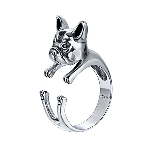 Animal Ring Sterling Silver Vintage Style 3D French Bulldog for Women (Silver Ring Sterling Bulldog)