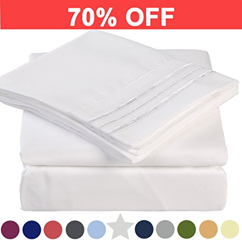 Twin Bed Sheet Set Cooling 100% Microfiber Polyester Extra Deep Pocket Fitted Sheet Breathable And Hypoallergenic Flat Sheet 3 Piece White