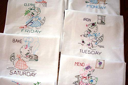 - Days of the Week Miss Kitty at Home flour sack tea towels, dish towels