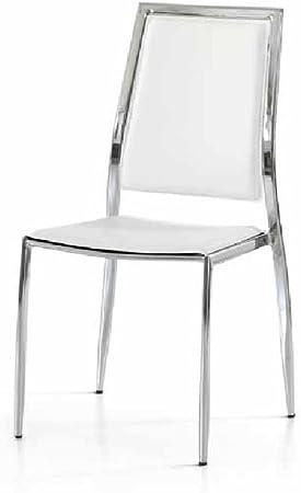 InHouse srls Set da 4 sedie con Seduta e Schienale in Ecopelle Bianca, Stile Moderno, con Struttura in Acciaio