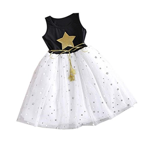 Sunbona Little Baby Girl Princess Summer Fashion Lace Sleeveless Stars Tutu Dresses Evening Party Dresses Outfits (Size:2T, (Star Outfit)