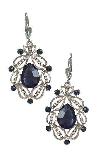 Silver Tone Art Deco Antique Vintage Style Blue Sapphire Rhinestone Filigree Dangle Earrings