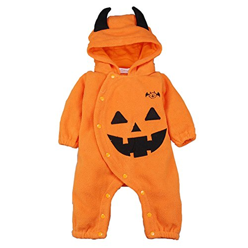 Unisex-baby Halloween Pumpkin Long Sleeve Hooded Romper Outfits Suit With (Halloween Diaper)