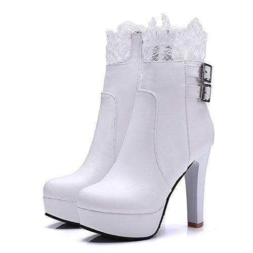 Lave Hvit støvler Solide Tå Runde Kvinners Hæler Allhqfashion Høye Pu Topp Lukket IRACvw