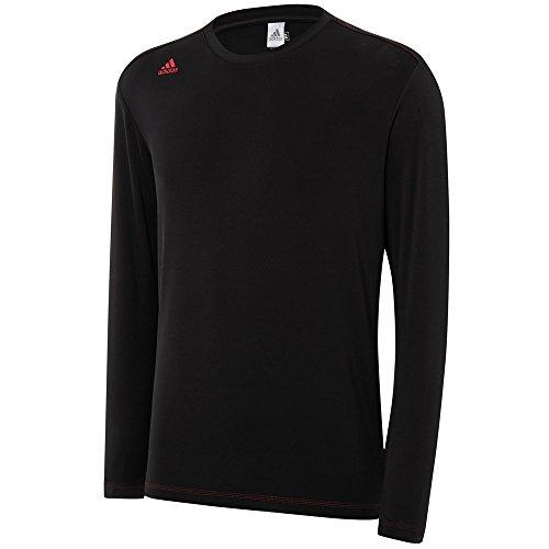 adidas Golf Men's Climawarm Long Sleeve Base Layer Shirt, Black/Bold Red, X-Large