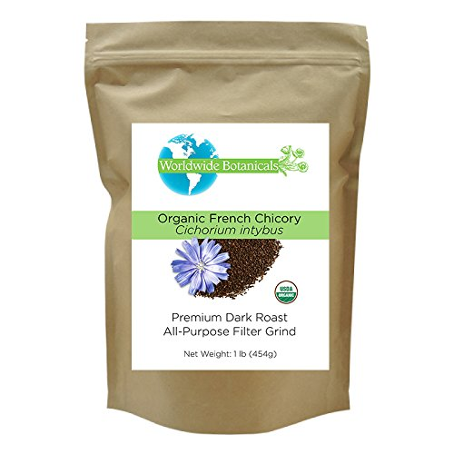 Worldwide Botanicals Organic French Chicory Burrow, Dark Roast, All-Purpose Filter Grind, Caffeine Free, Acid Free, 1 lb. (454g)