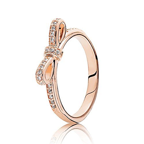 Pandora Sparkling Bow Ring, Pandora Rose, Clear CZ 180906CZ-54 7 US, 54 Euro (Bow Pandora Ring)