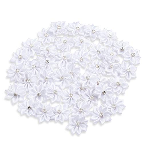 Artificial Craft Flowers with Rhinestone Embellishments, White, 1.4 Inches, 50 Pack ()