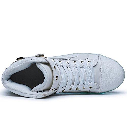 Womens Mens LED Shoes 7 Colors Neon Light up Luminous Glowing Fashion Sneakers White fdLGNwKM2I