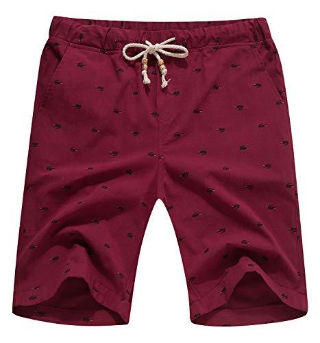 (YTD Men's Linen Casual Classic Fit Short Summer Beach Shorts XL Wine Red)