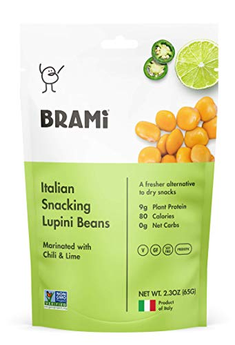 BRAMI Lupini Beans Snack, Chili & Lime | 9g Plant Protein, 0g Net Carbs | Vegan, Vegetarian, Keto, Mediterranean Diet | 2.3 oz (8 Pack) (Best Foods To Eat On Weight Watchers Smartpoints)