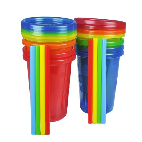 The First Years Take & Toss Straw Cups,10 Ounce, 8 Spill Proof Cups - Great for On The Go