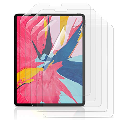 New iPad Pro 11 Inch Screen Protector (5 Pack), SMAPP Premium PET Film Crystal Clear Screen Protector for Apple iPad Pro 11 2018 Tablet Compatible [Face ID] [Apple Pencil] [Touch Sensitive] (Clear)