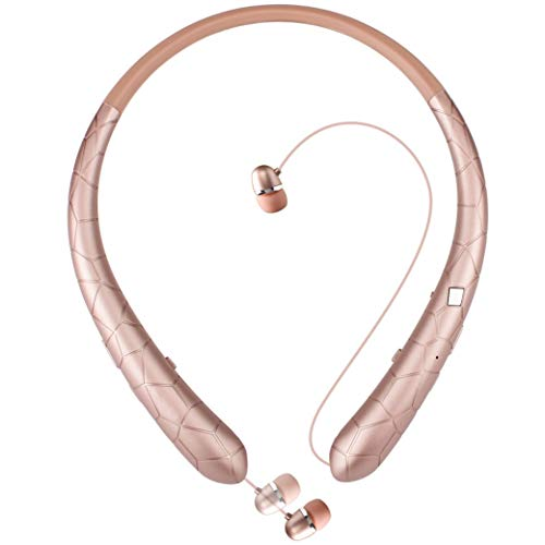 Bluetooth Headphones Joyphy Wireless Retractable Earbuds Neckband Headset Sports Sweatproof Earphones Hand free with Mic (Rose Gold)