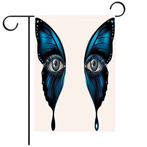 Artistically Designed Yard Flags, Double Sided Eye Realistic Female Eye on Magical Butterfly Wings Artistic Makeup Mask Masquerade Decorative Deck, patio, Porch, Balcony Backyard, Garden or Lawn for $<!--$16.88-->