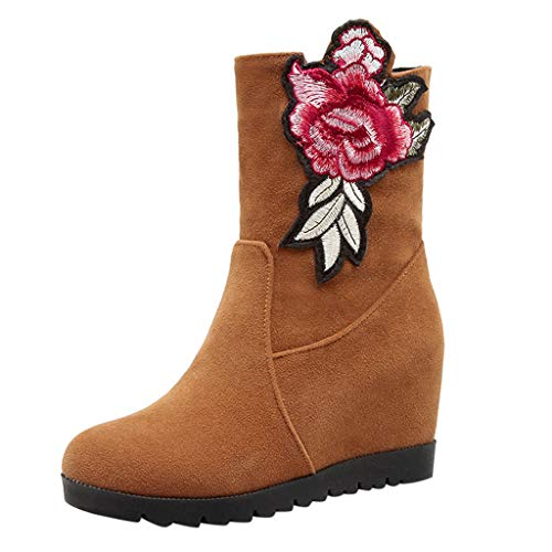 Respctful ♪☆ Women Girls 's Fashion Flower Patchwor Wedges Boots Slip-On Chunky Heel Shoes Temperament Ankle Booties
