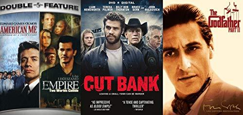 Thrill Mob Crime Quad Movie set American Me / Empire + Cut Bank & Godfather 2 Feature Film DVD bundle