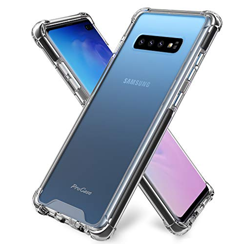 ProCase Galaxy S10 Plus Case Clear, Slim Hybrid TPU Bumper Cushion Cover with Reinforced Corners, Crystal Scratch Resistant Rugged Cover Protective Case for Galaxy S10+ Plus 2019 -Clear
