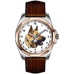 AIMS Christmas gift Mens gold Personalized Unique Fashion Design Waterproof Wrist Watch Alsatian German shepherd portrait Wrist Watches