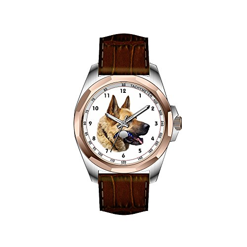 AIMS Christmas gift Mens gold Personalized Unique Fashion Design Waterproof Wrist Watch Alsatian German shepherd portrait Wrist Watches