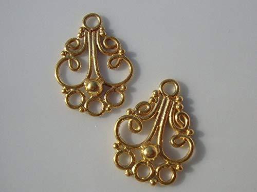 (6 pcs, 24K Gold Vermeil Sterling Silver Bali Artisan Beautiful Chandelier Connector - CC-0016)