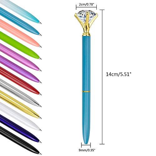 JPSOR 12 Pcs Bulk Color Diamond Ballpoint Pens Retractable Metal Crystal Pens with 12 Pcs Replacement Refills Photo #2