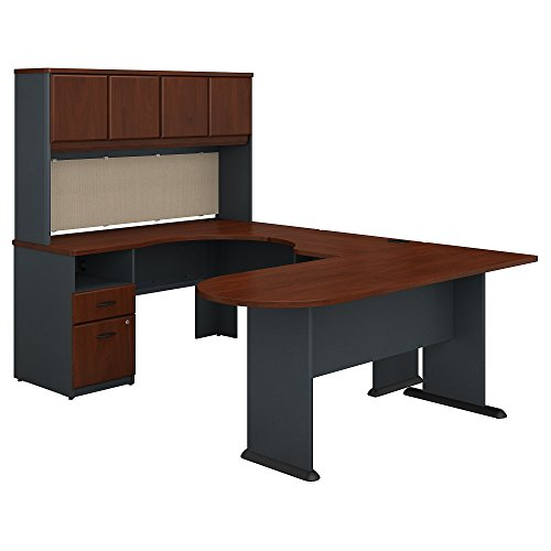 Bush Business Furniture Series A U Shaped Desk with Hutch, Peninsula and Storage in Hansen Cherry and Galaxy by Bush Business Furniture