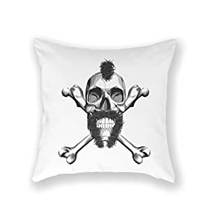 Fashion Home Decorative 16Inches Throw Pillowcase Biker Horseshoe Mustahce Hair Crossbones Cushion Cover One Side