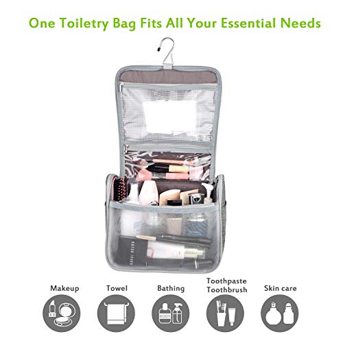 UBAYEE Hanging Toiletry Wash Bag for Men and Women, Grey
