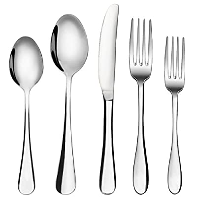 Silverware Set, MCIRCO 20-Pieces Flatware Set Stainless Steel Cutlery Set Service for 4,Include Knife/Fork/Spoon,Mirror Polished - 20-piece flatware set, service for 4; includes 4 salad forks, 4 dinner forks, 4 teaspoons, 4 dinner spoons, and 4 dinner knives. Constructed by high quality rust-resistant stainless steel, Durable and healthy for everyday use, Dishwasher Safe Simple appearance with no redundant annoying decoration, Classic design to fit any style kitchen tableware - kitchen-tabletop, kitchen-dining-room, flatware - 41agvglPxIL. SS400  -