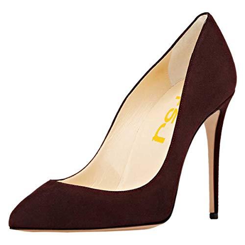 Brown Pumps Suede (FSJ Women Sexy Suede Pointed Toe Pumps 12 cm High Heels Stilettos Prom Shoes Size 9 Dark Brown)