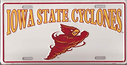 "World Flags Direct Made in The USA - Iowa State Cyclones License Plate, Licensed NCAA Flag Aluminum 6""x12"" Novelty Auto Car Tag (693)"