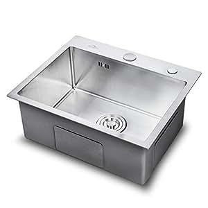 Auralum - Fregadero Cocina Un Seno 55 x 45cm de Acero Inoxidable Cepillado 304 Fregaderos Acero con 2 Orificio de Montaje para Cocina
