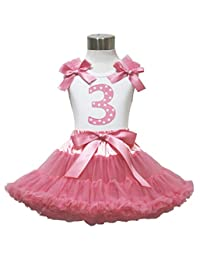 Easter 3rd Birthday White Top Dusty Pink Pettiskirt Skirt Set Girl Outfit 1-8y
