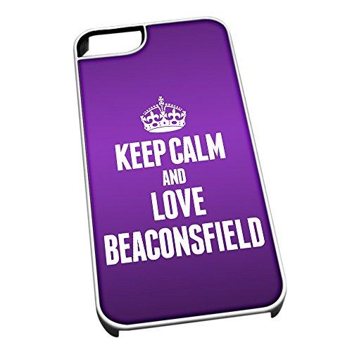 Bianco Custodia protettiva per iPhone 5/5S 0049viola Keep Calm e Love Beaconsfield (