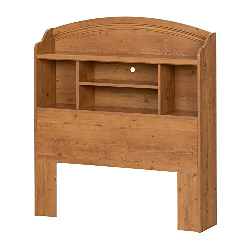(South Shore Prairie Bookcase Headboard with Storage, Twin 39-inch, Country Pine)