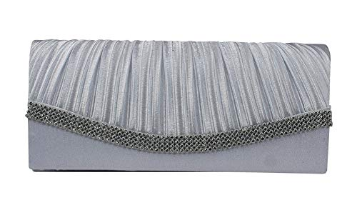 Chicastic Silver Grey Pleated Satin Wedding Evening Bridal Clutch Purse With Rhinestones