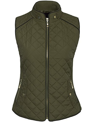Gold Olive (BOHENY Womens Quilted Fully Lined Lightweight Zip Up Vest S-3X-M-OLIVE)