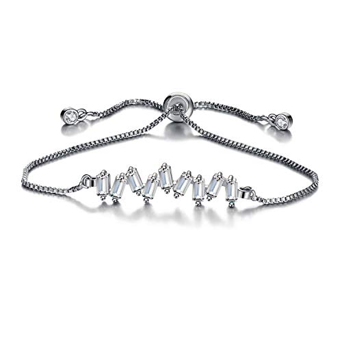 cheeseri Fashion Flower Cubic Zirconia Charm Bracelet for Women Bangle & Bracelet Pulseras Mujer Female Party Wedding Jewelry,BJCS58925Sliver