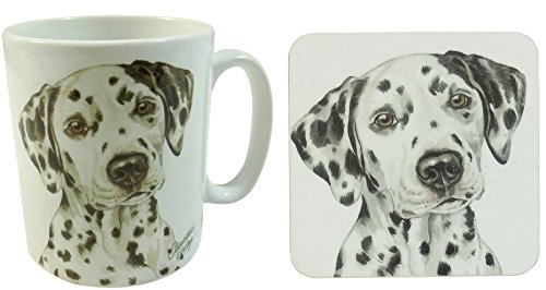 (2 PCE SET BOXED SPOTTED DALMATIAN DOG PUPPY MADE IN UK CERAMIC MUG CUP POT & COASTER )