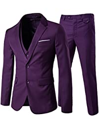 938f1d89380 Men s 3-Piece 2 Buttons Slim Fit Solid Color Jacket Smart Wedding Formal  Suit