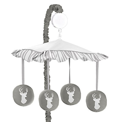 Sweet Jojo Designs Grey and White Deer Musical Baby Crib Mobile for Woodsy Collection