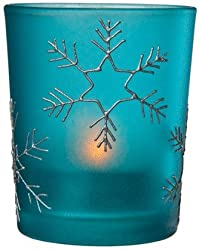 Luna Bazaar Small Snowflake Glass Candle Holder (2.5-Inch, Turquoise Blue) - For Use with Tea Lights - For Home Decor, Parties, and Wedding Decorations